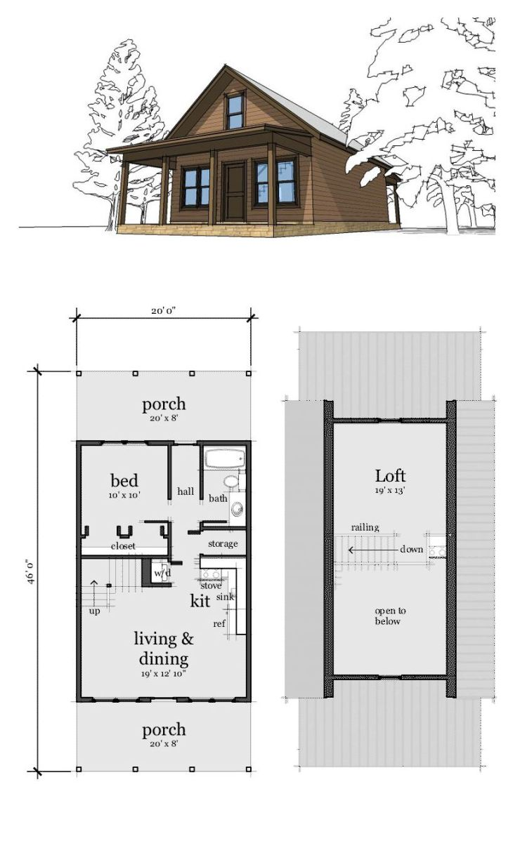 Cabin House Plan   Cabin Lofts and Bedrooms