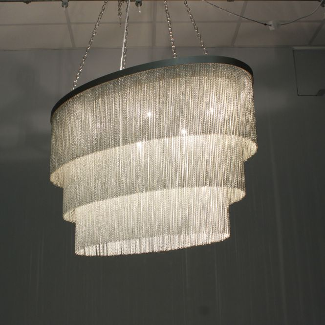 Oval Silver Chain Chandelier Lit Up