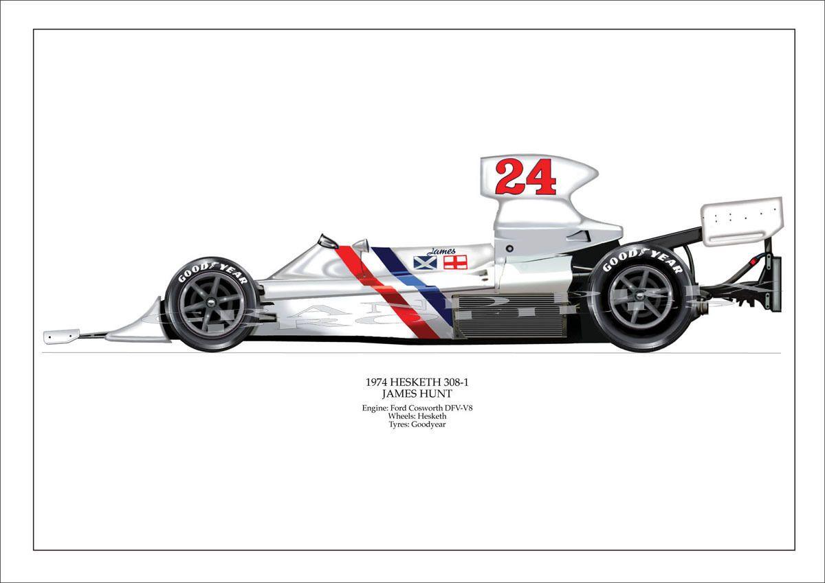 F1 Grand Prix James Hunt Hesketh 308 1 Ltd Ed Signed Pro