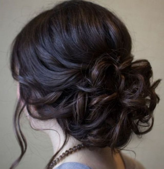Beautiful Low Prom  Updo  Hairstyle  With Loose Soft Curls