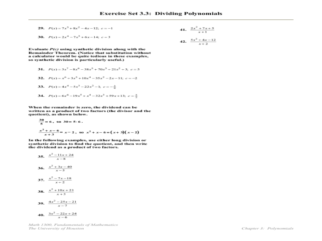 Dividing Polynomials Worksheet Free Worksheets Library | Download ...