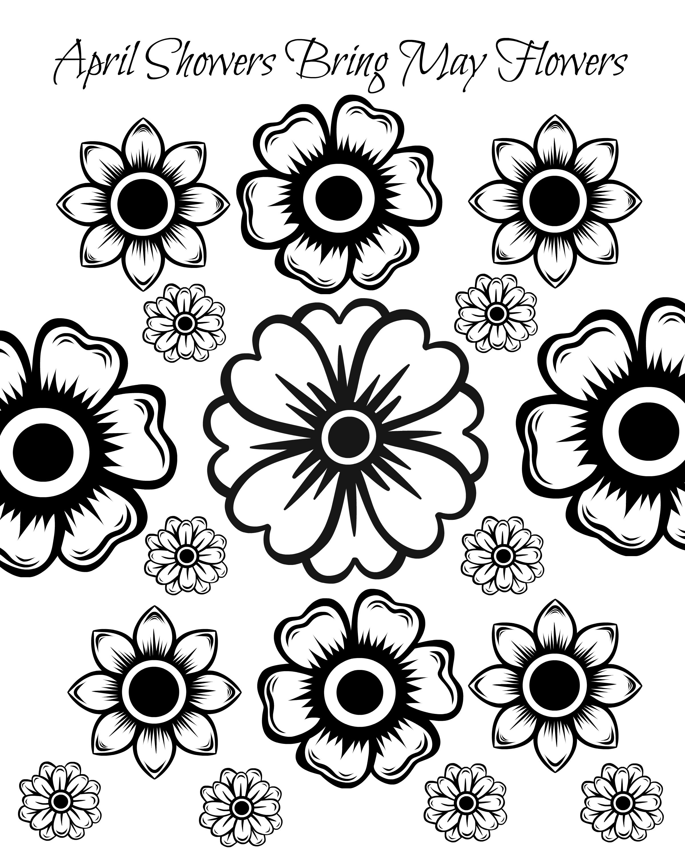 Free Printable May Flowers Adult Coloring Page Kids Family