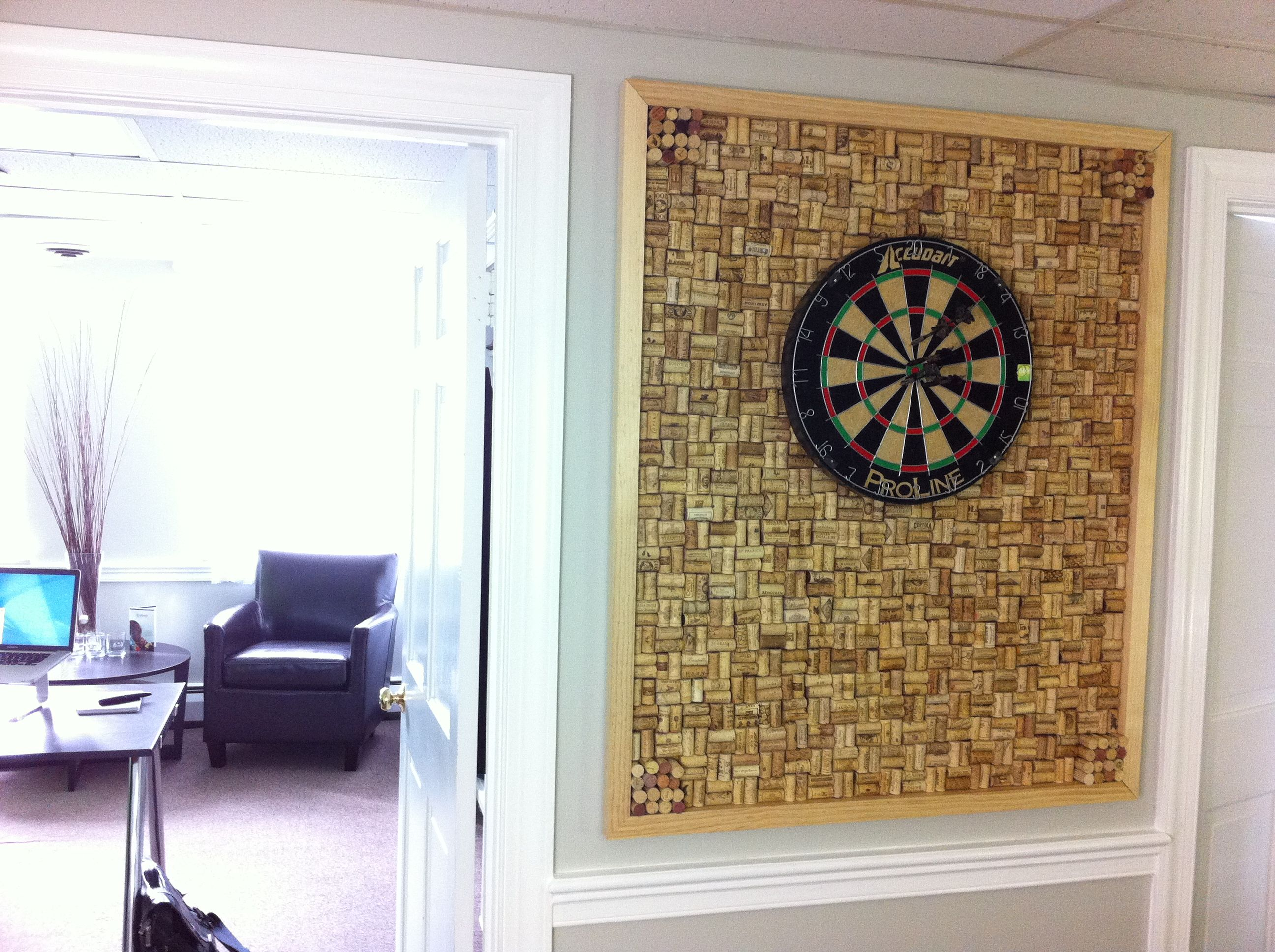 custom dart board frame with wine cork backing located in on inspiring workspace with a cork wall creating a custom cork board for your home id=34126