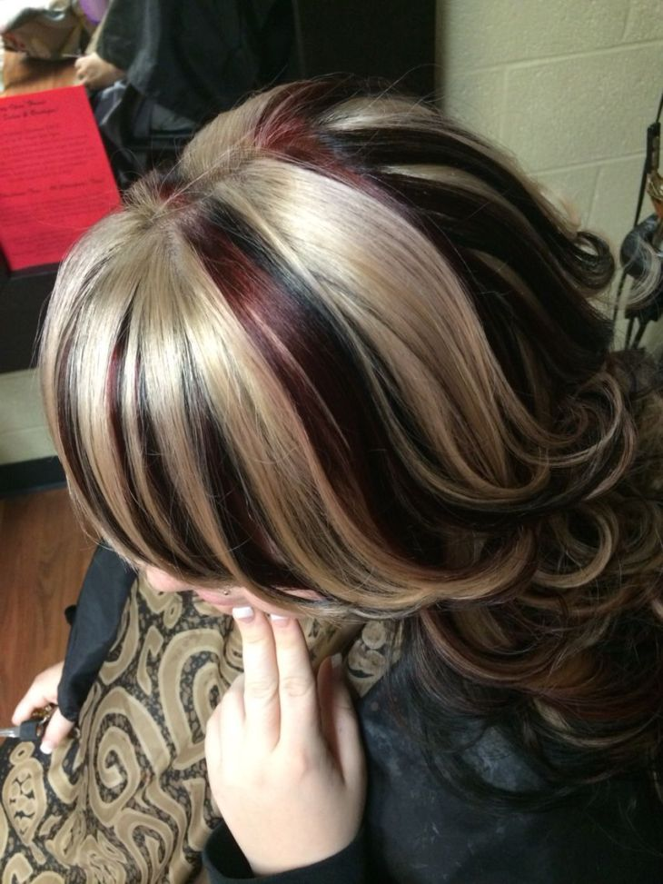 Hair chunky highlight red black blonde hair by crystal goodman