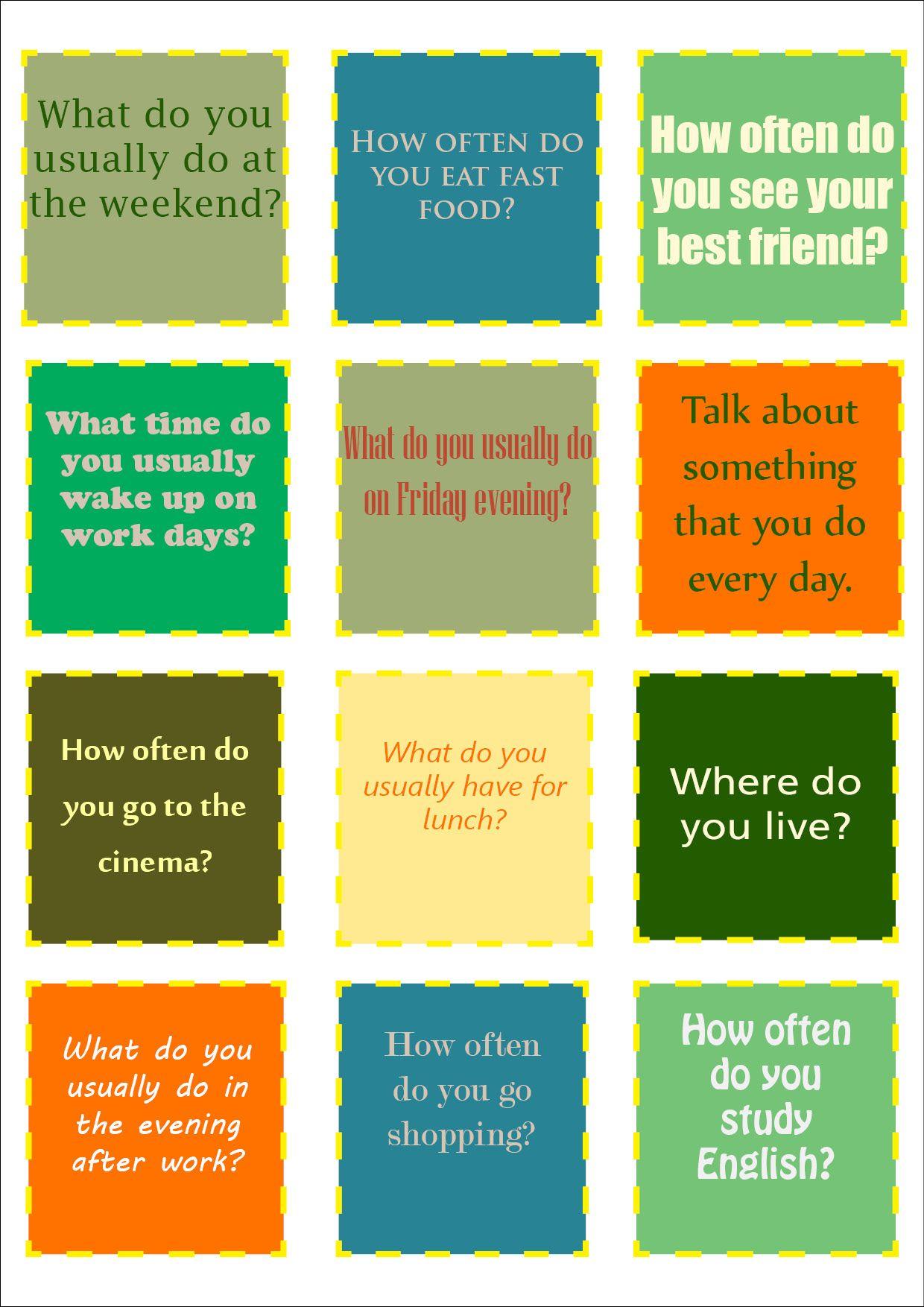 Conversation Cards 3 Present Simple