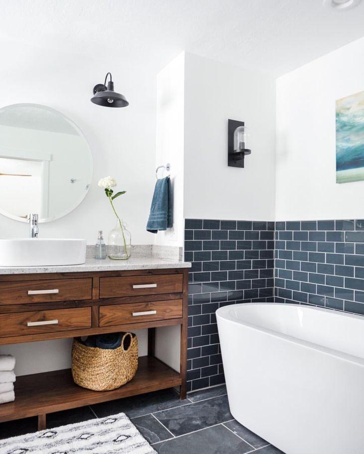 Nautical navy white and wood bathroom bathroom Pinterest Wood