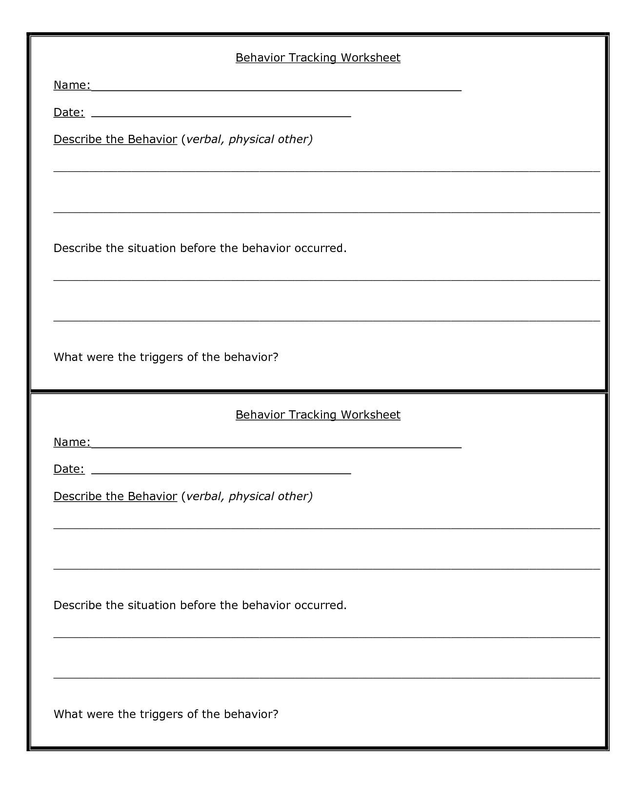 Anger Journal Worksheet