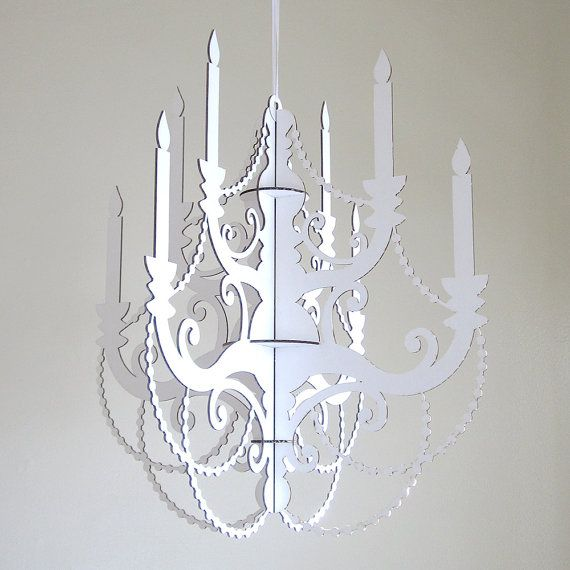 White Cardboard Chandelier Laser Cut Party Decor Perfect For The Sprinkle Chandlier