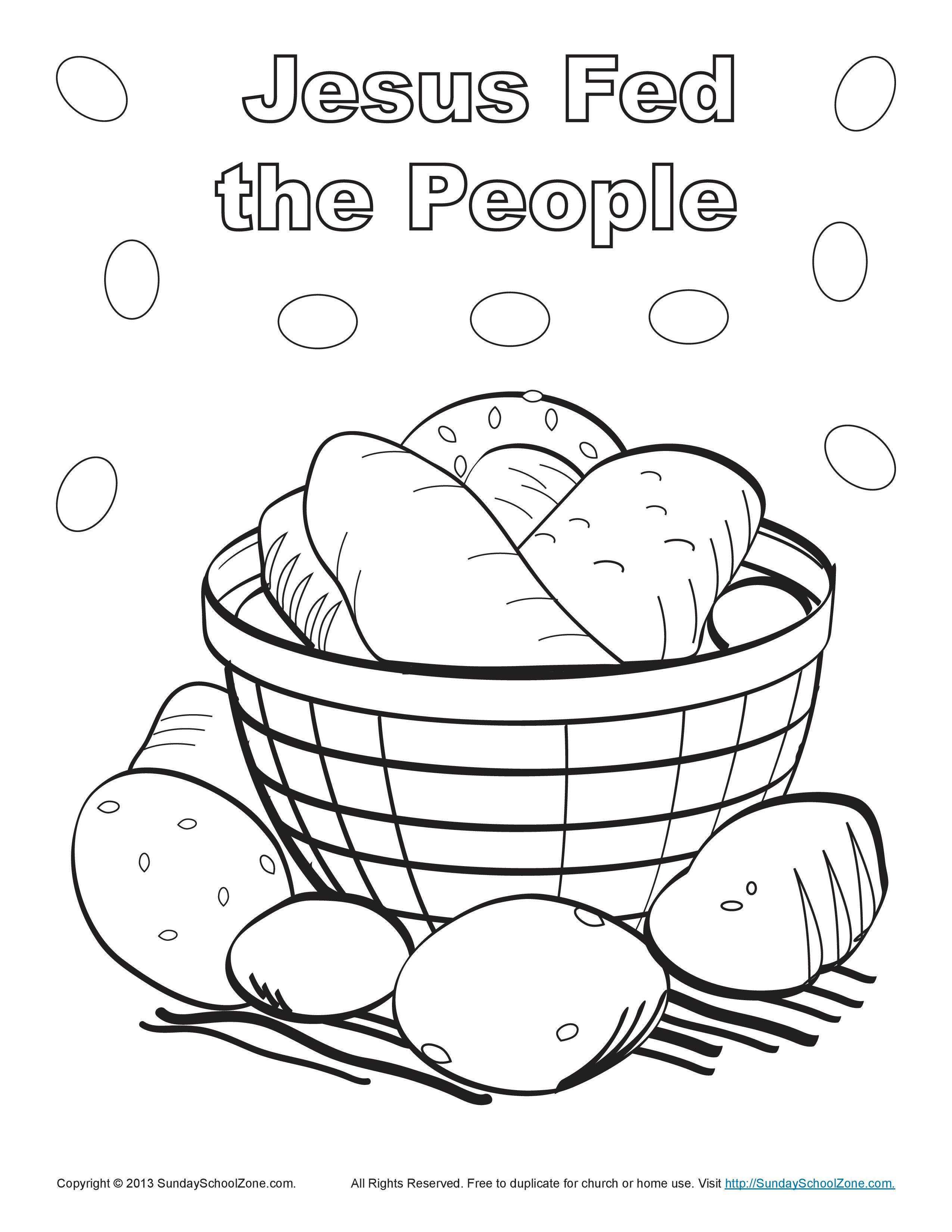 Jesus Fed The People Bible Coloring Page