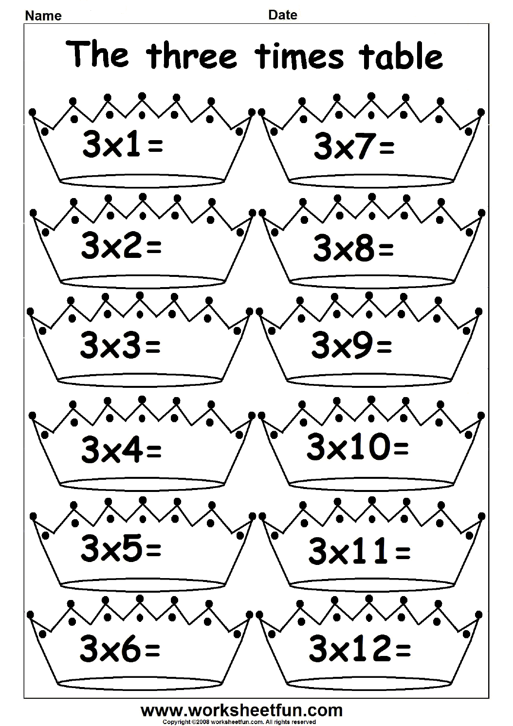 2 3 4 5 6 7 8 9 10 11 And 12 Times Table
