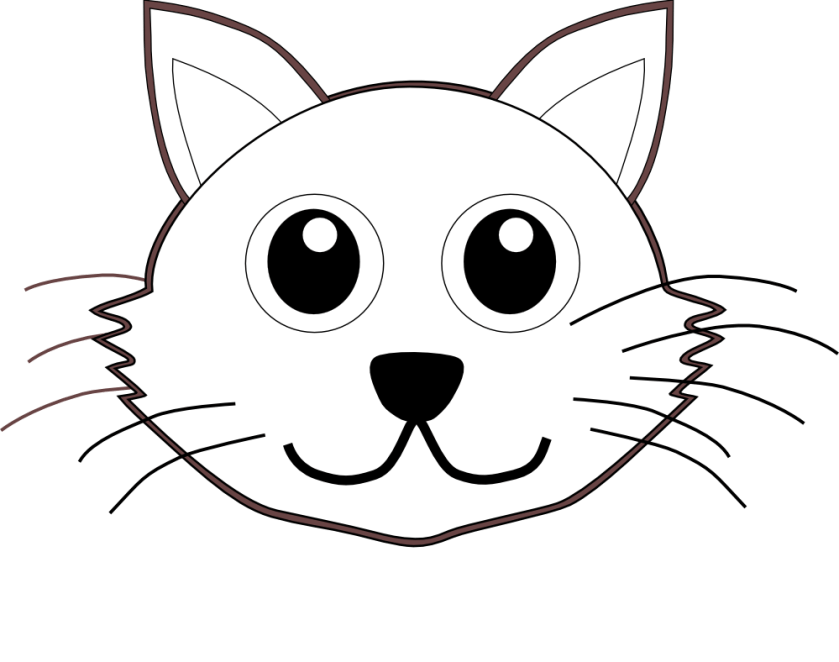 cat 1 face cartoon black white line coloring sheet