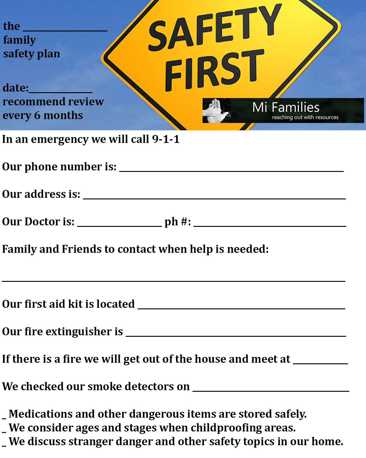 Printable Worksheet For Families Click Image For