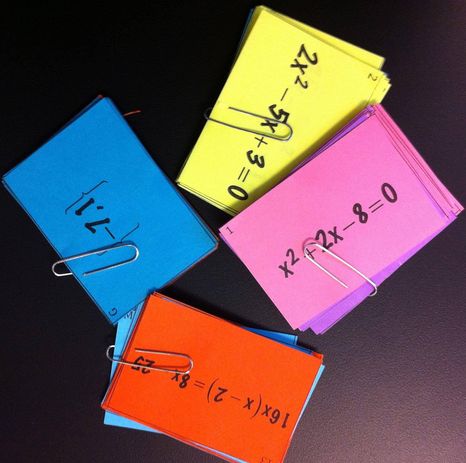 Quadratic Equations Card Sort