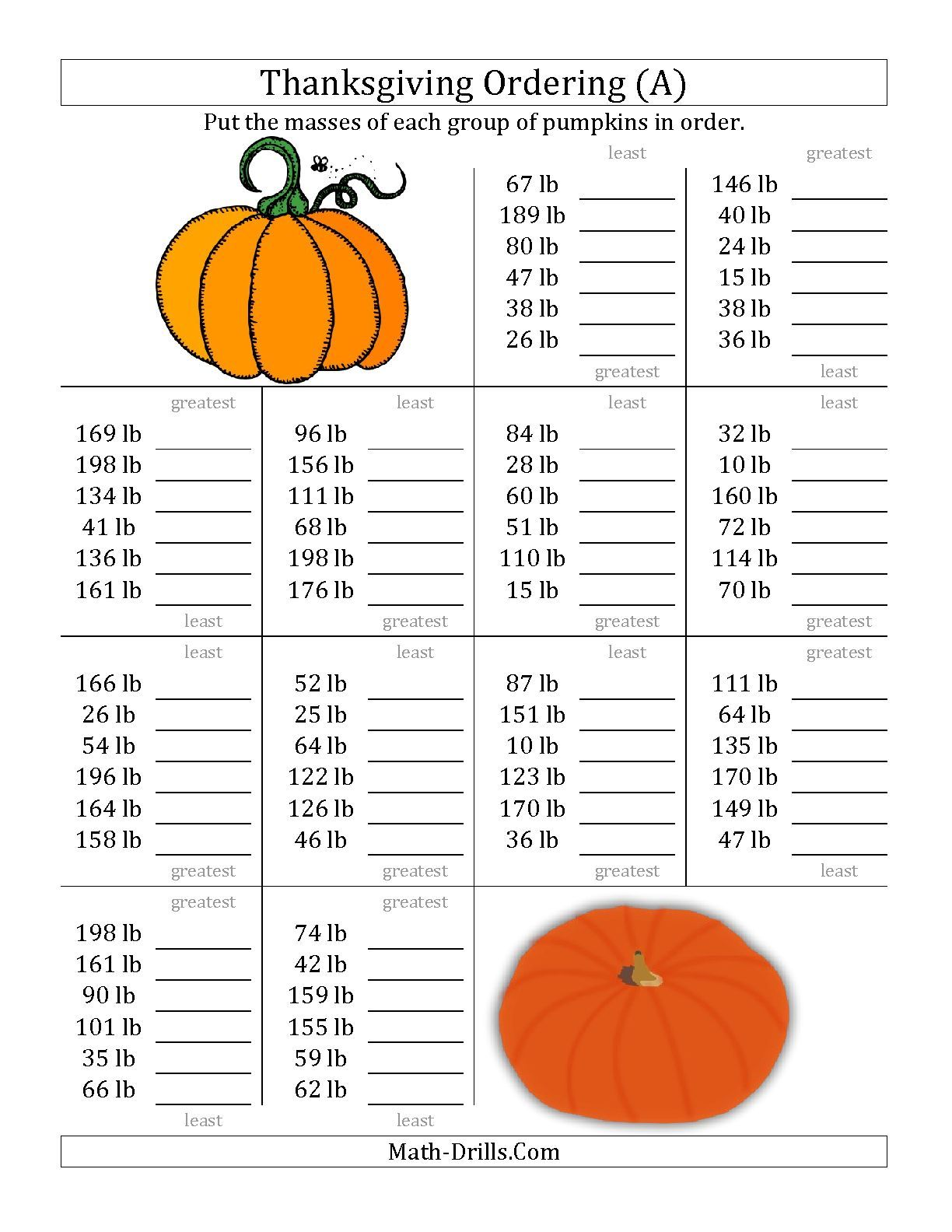 The Ordering Pumpkin Masses In Pounds A Math Worksheet