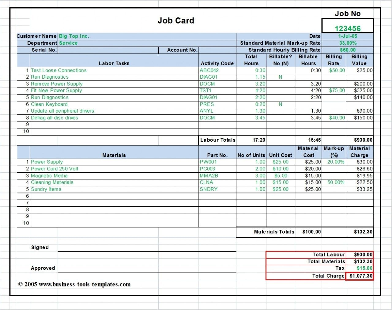 Labor Amp Material Cost Estimator And Job Card Template Ms