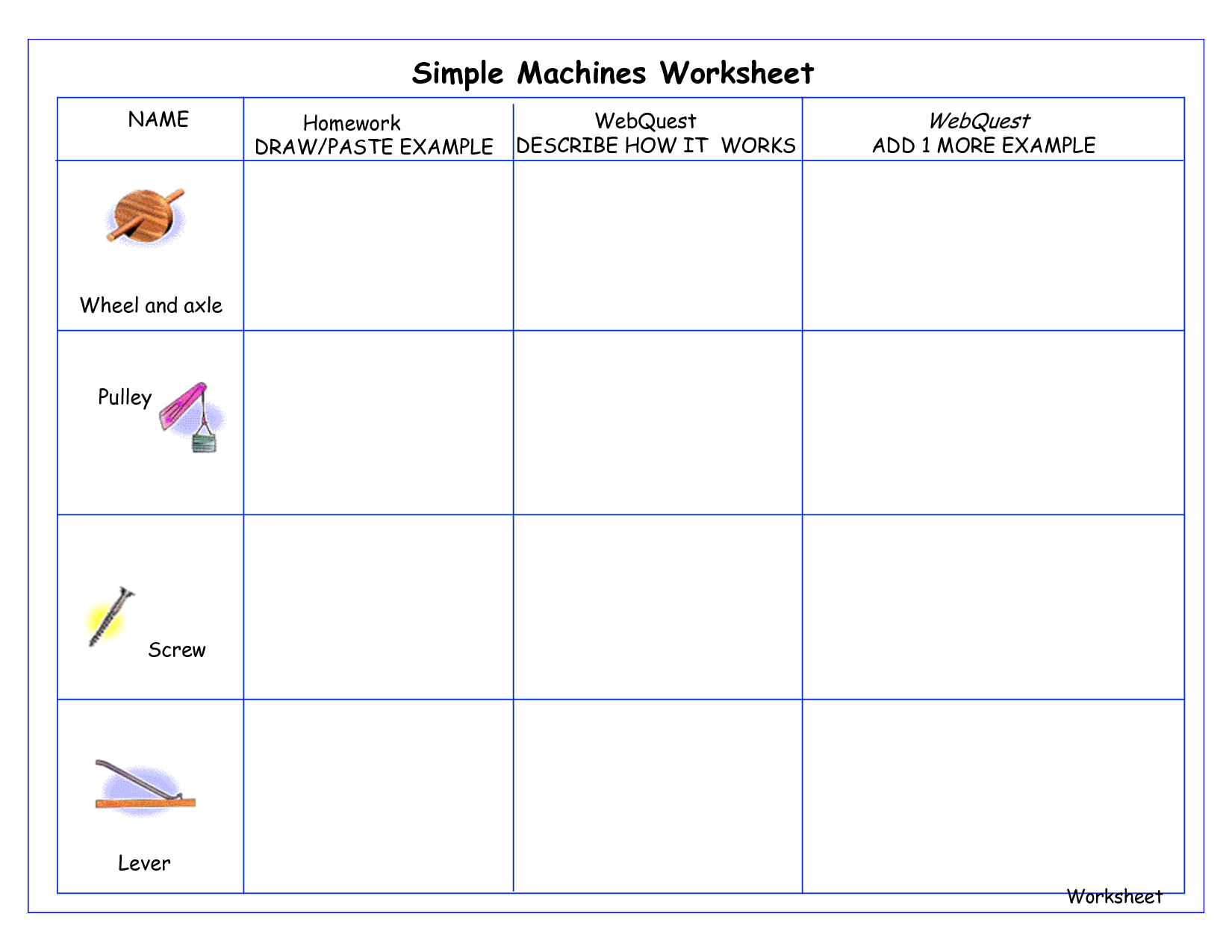 Simple Machine Worksheet And Activities