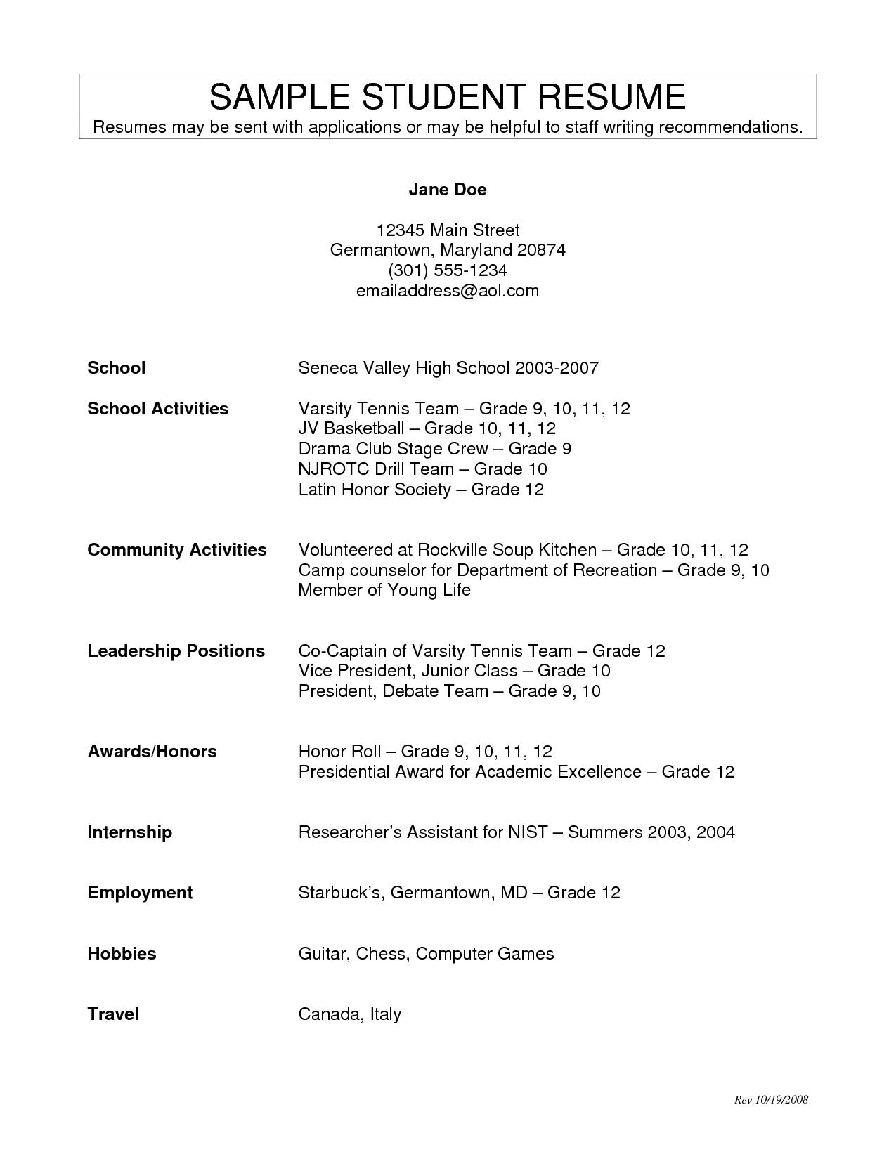 High School Activities Resume