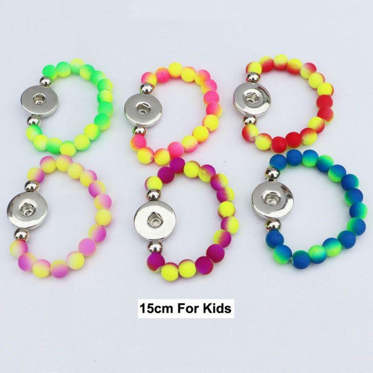 pcs Diy Snap Bracelet Jewelry Stretch Chunky Double Color Rubber
