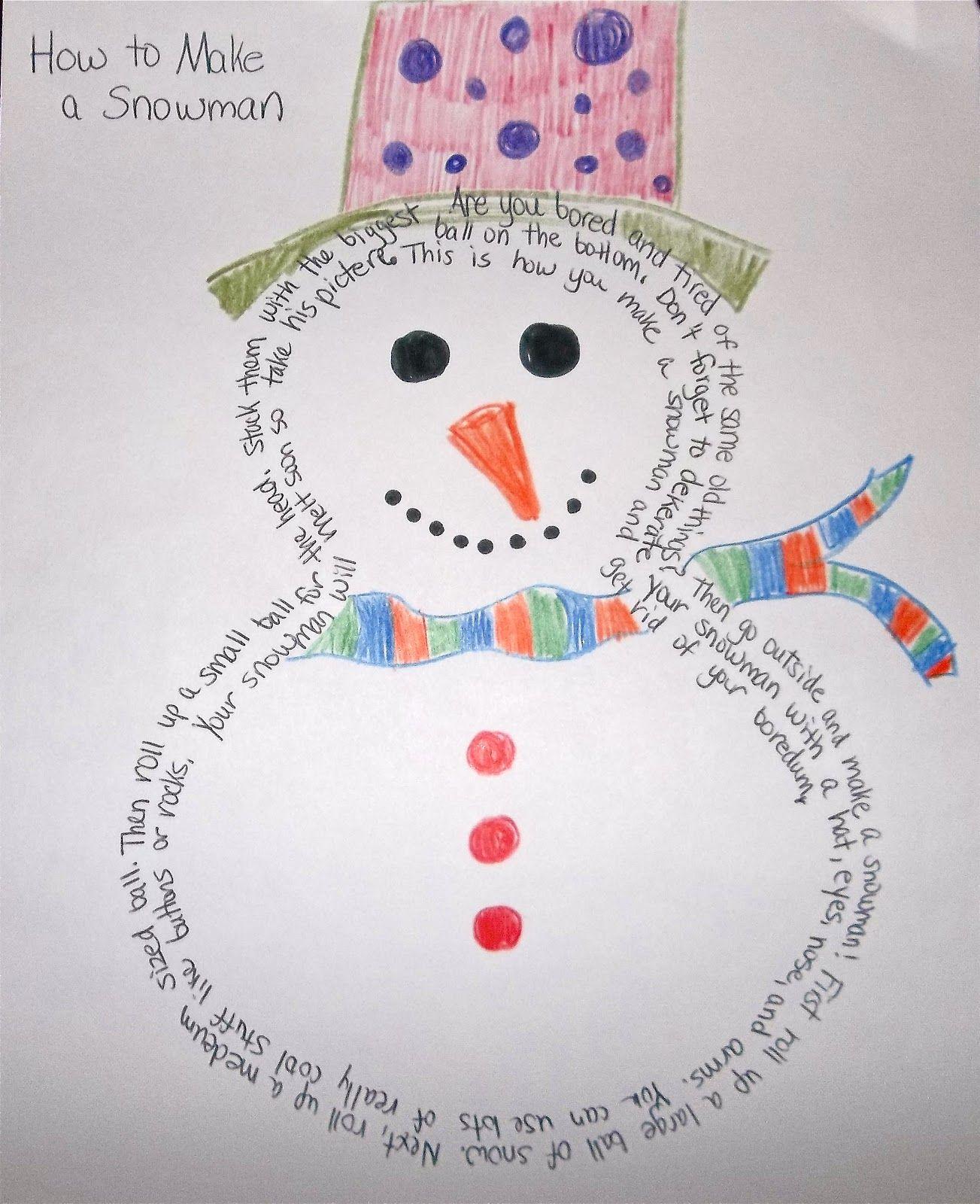 Figurative Language Concrete Poetry Snowman Example