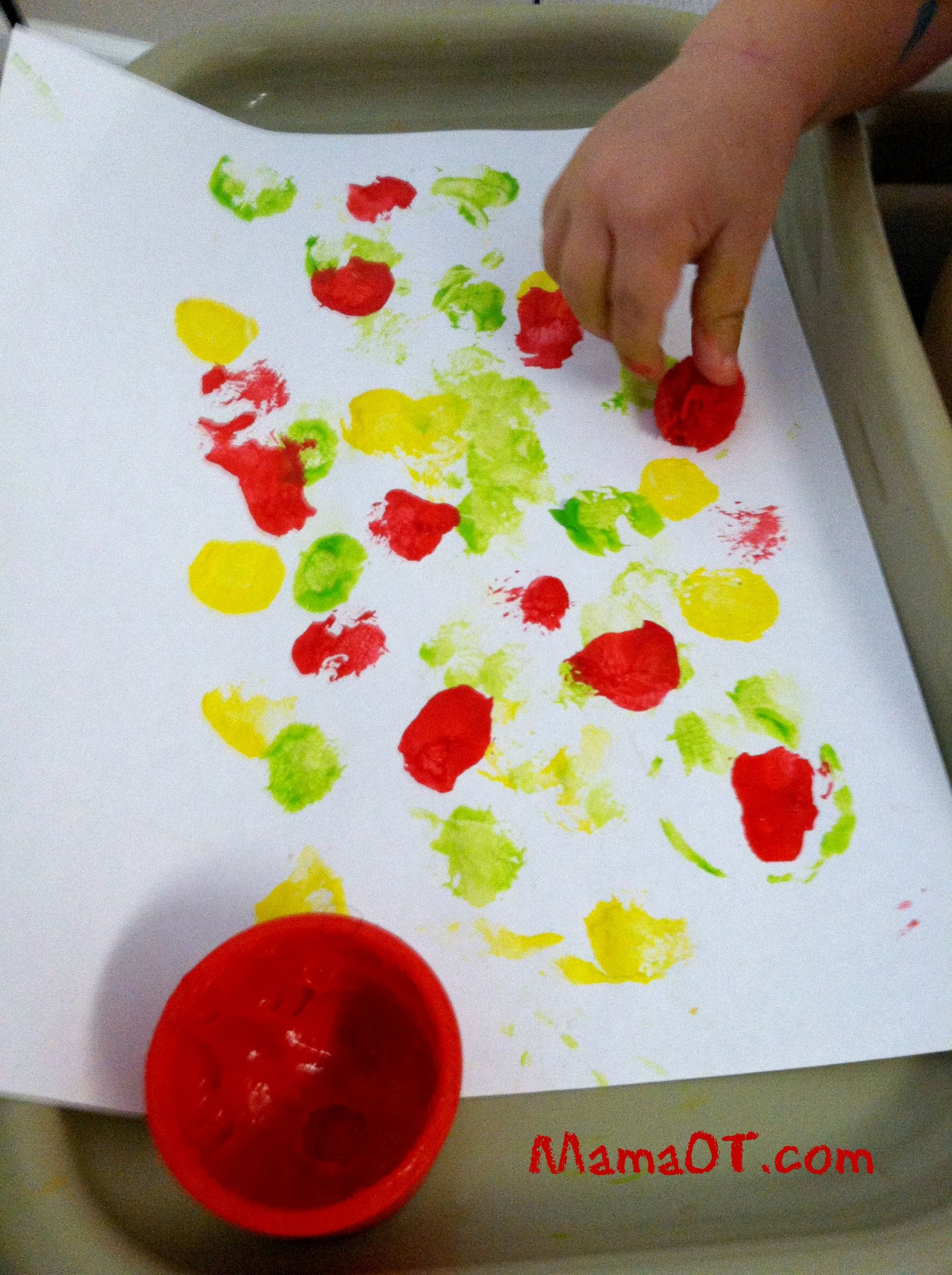 Work On Fine Motor Grasp By Pinching And Painting With Pom Poms