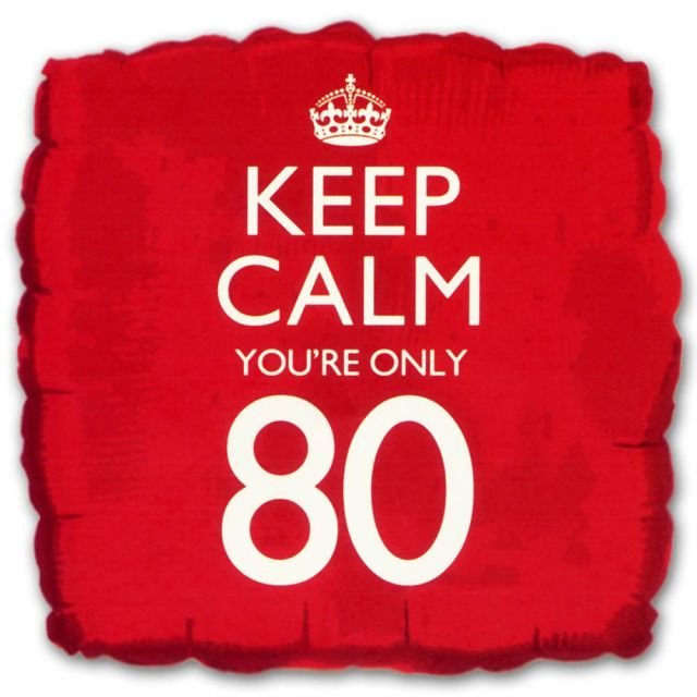 18 square keep calm birthday age 80 foil helium balloon