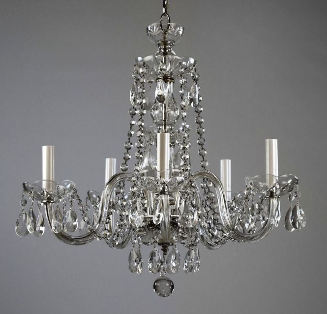 Red Waterford 499 Style Crystal Chandelier C1950 Glass Vintage Antique Re