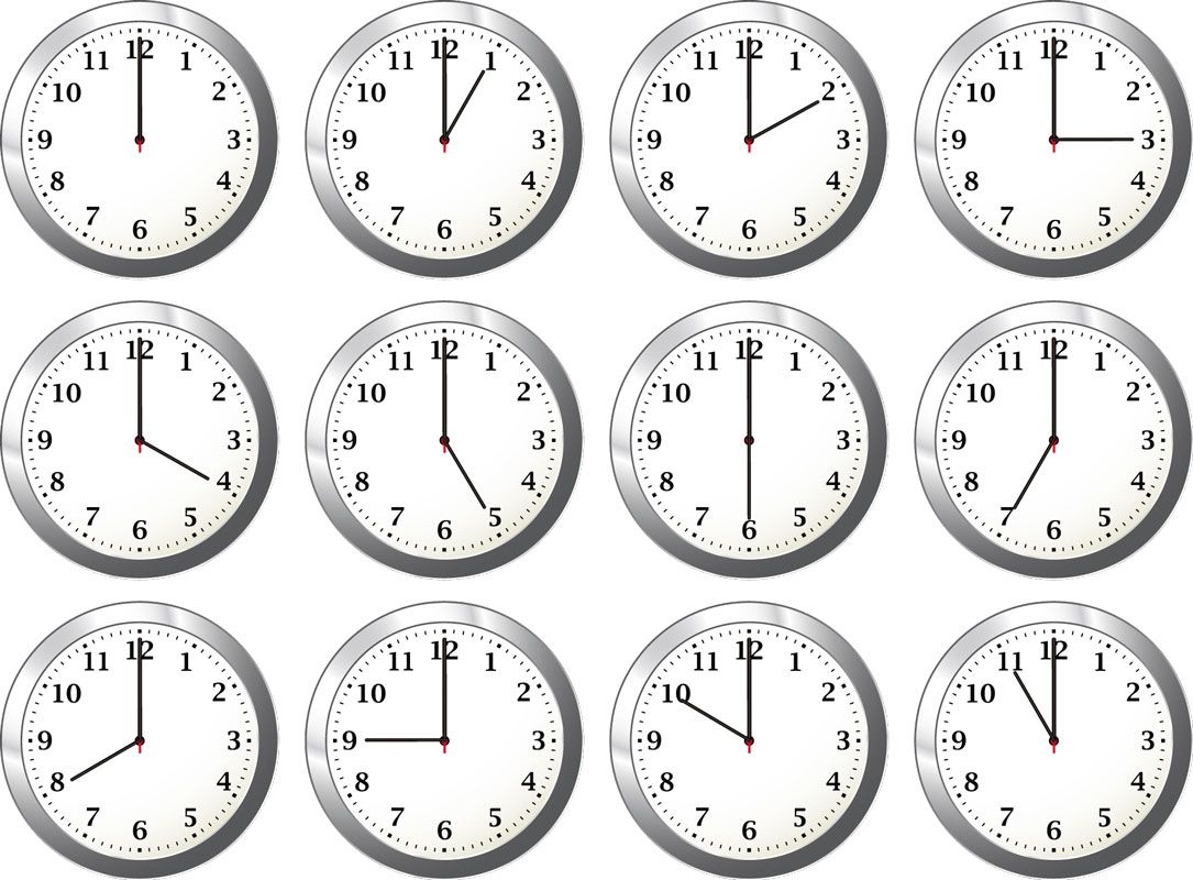 Clocks At Different Times Clipart