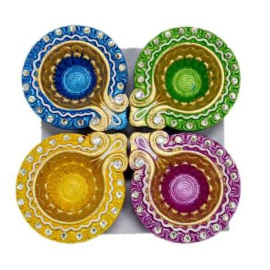 A Set Of 4 Beautiful Hand Painted And Ornamented Diyas The Come In Golden