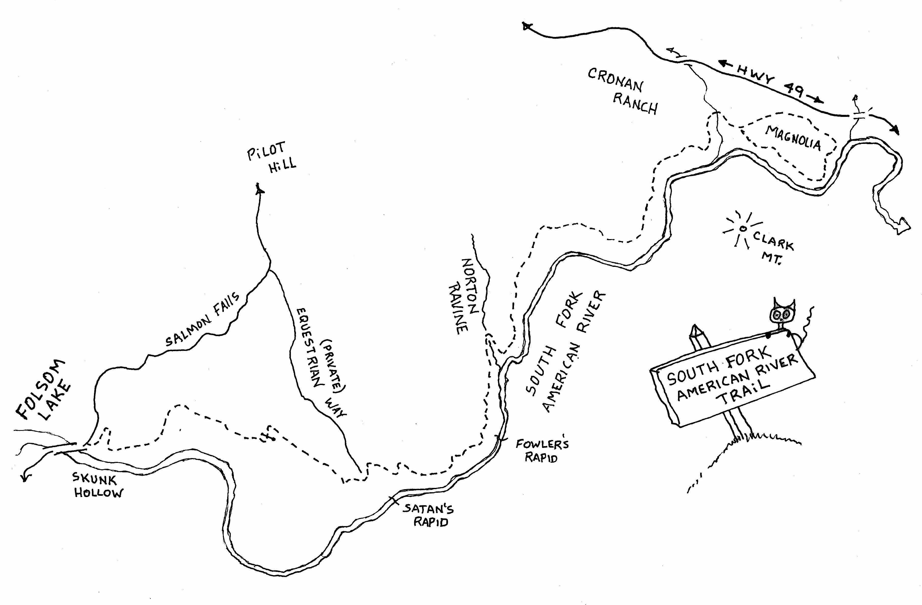 South Fork Map American River Trail This Trail Provides A