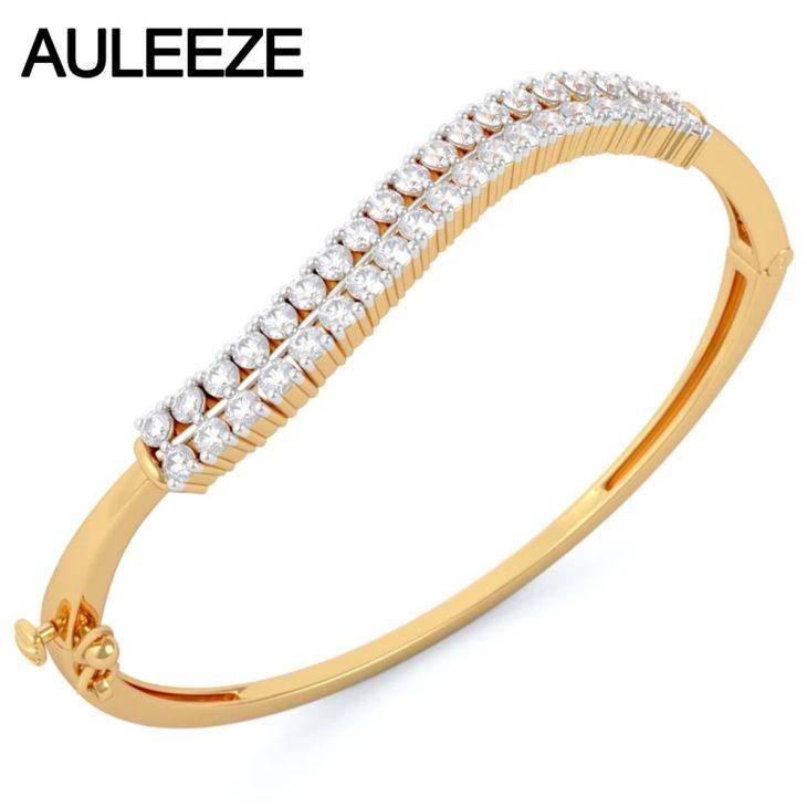 Natural Real Diamond Bangles K Solid Yellow Gold Gold Bangles