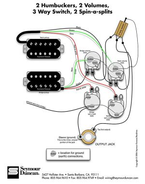 Seymour Duncan wiring diagram  2 Humbuckers, 2 Vol, 3 Way