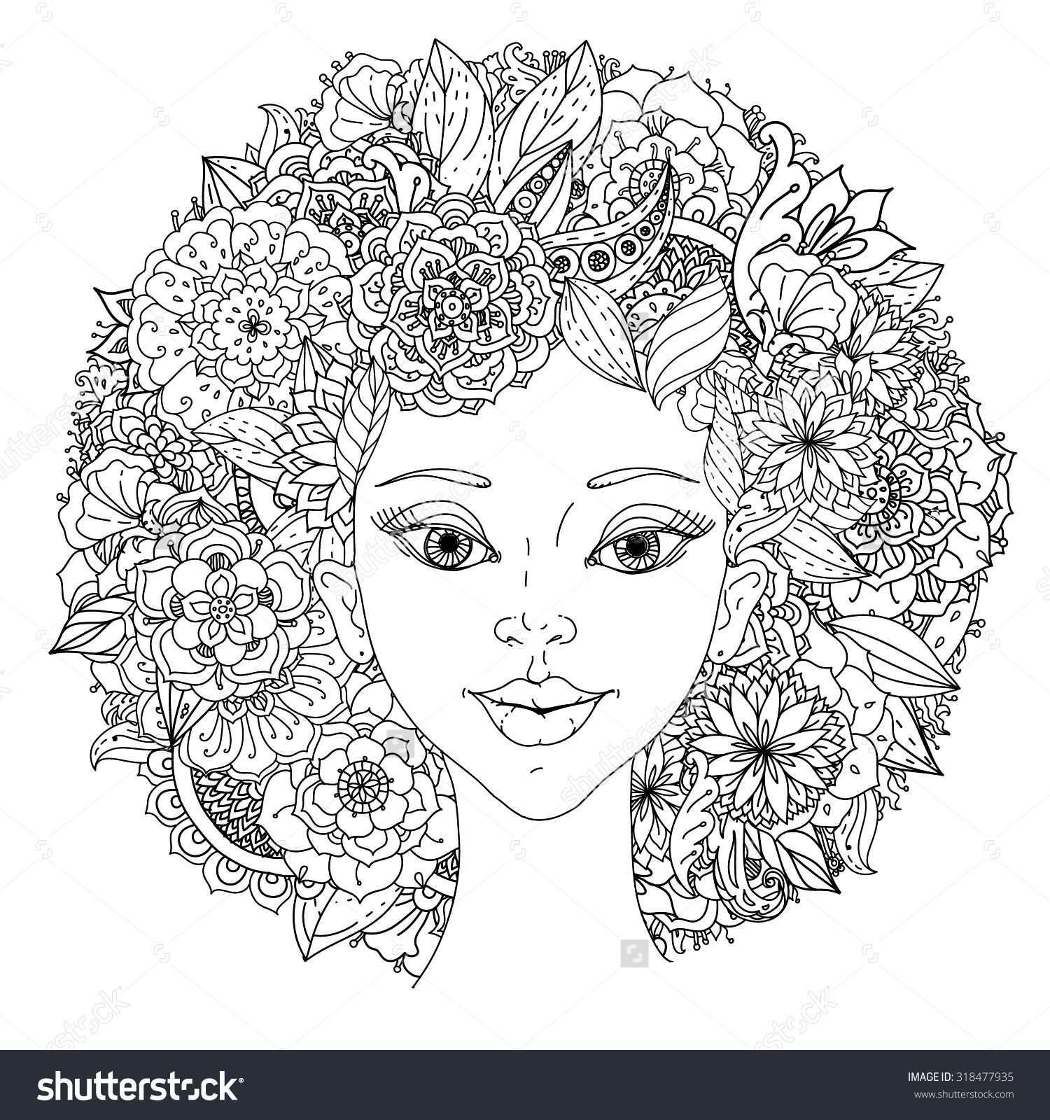 Beautiful Fashion Women With Abstract Hair And Floral Design Elements Could Be Used For Coloring