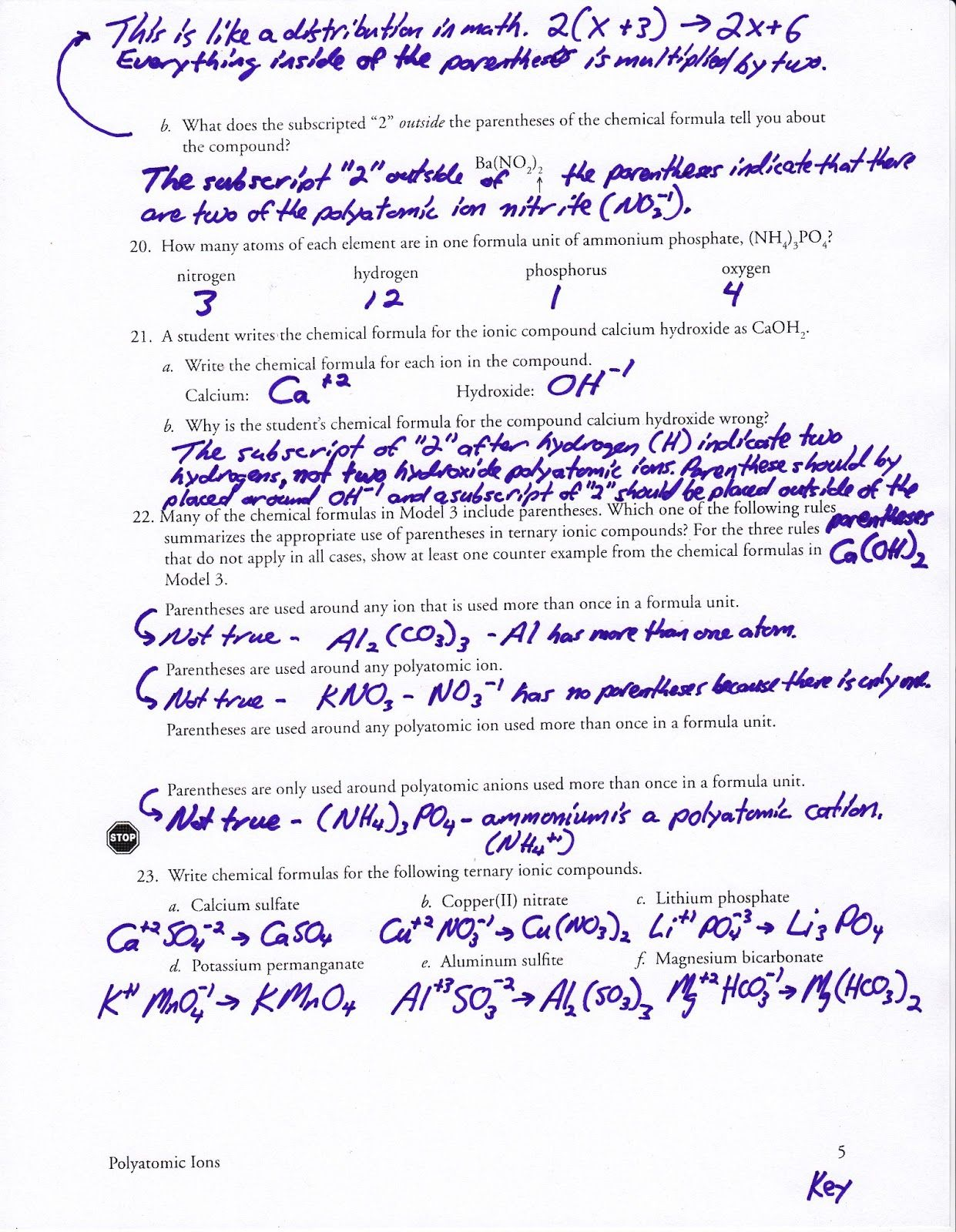 35 Ions Worksheet Chemistry Answers