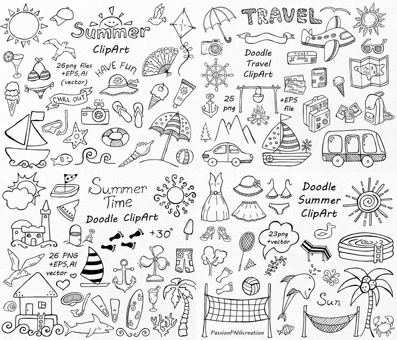 Big Set Von Doodle Sommer Cliparts Hand Gezeichneten