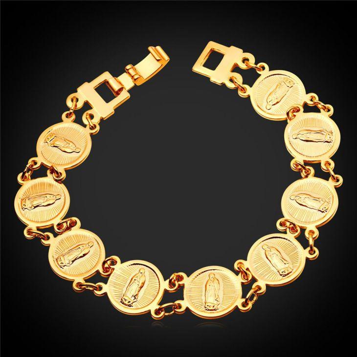 Religious Virgin Mary Charm Bracelet For Women Men GoldSilver Color