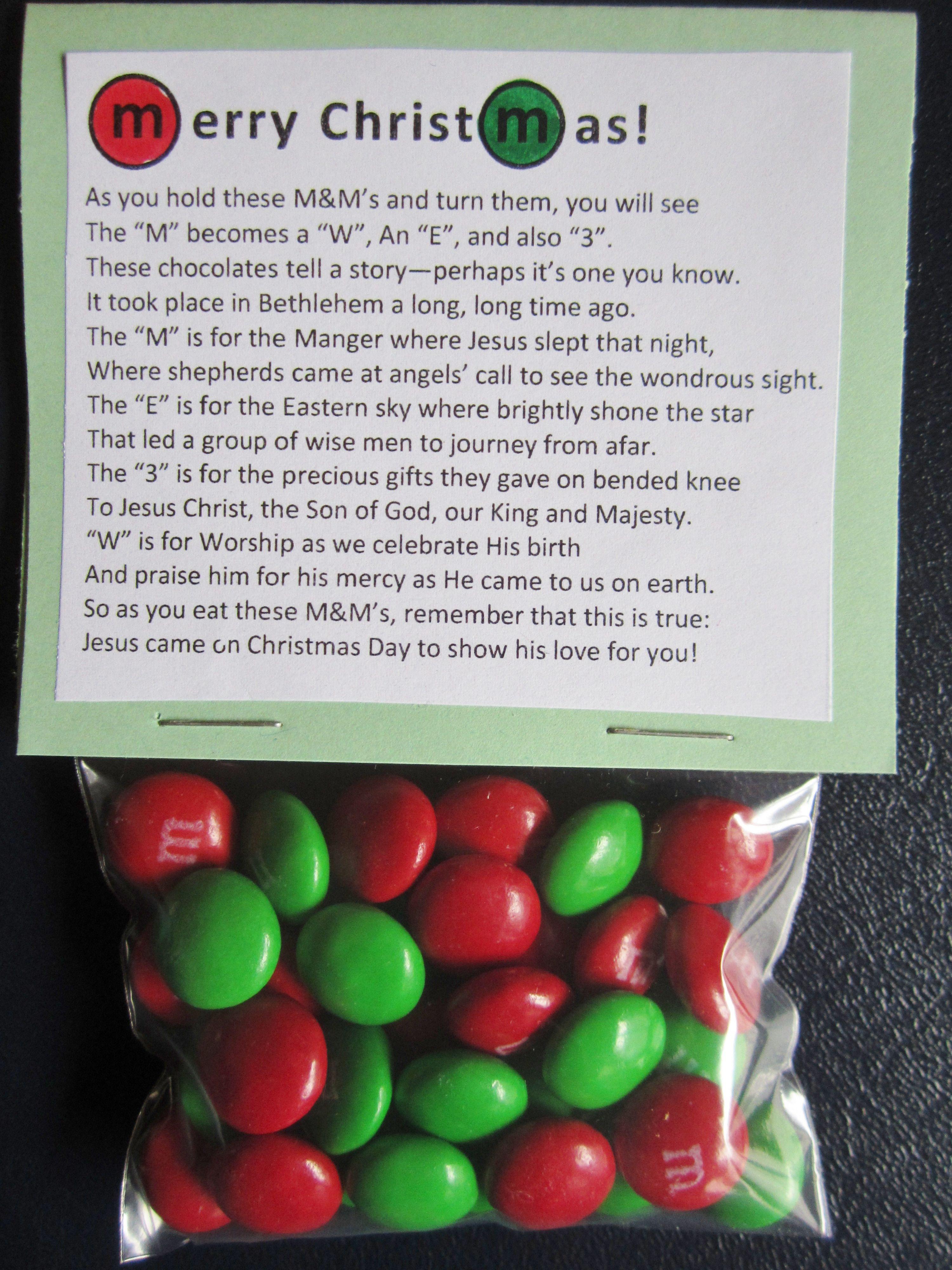 Christmas MampM Poem Christmas Crafts And Favor Ideas