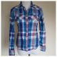 Flannel shirt knot  AEO Western Button Down Madras Plaid Snap Shirt SM  Aeo Flat lay