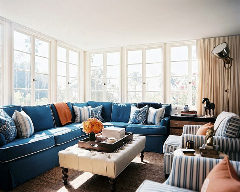 Decorating Blue Sectional Sofa Chairs And Tufted White