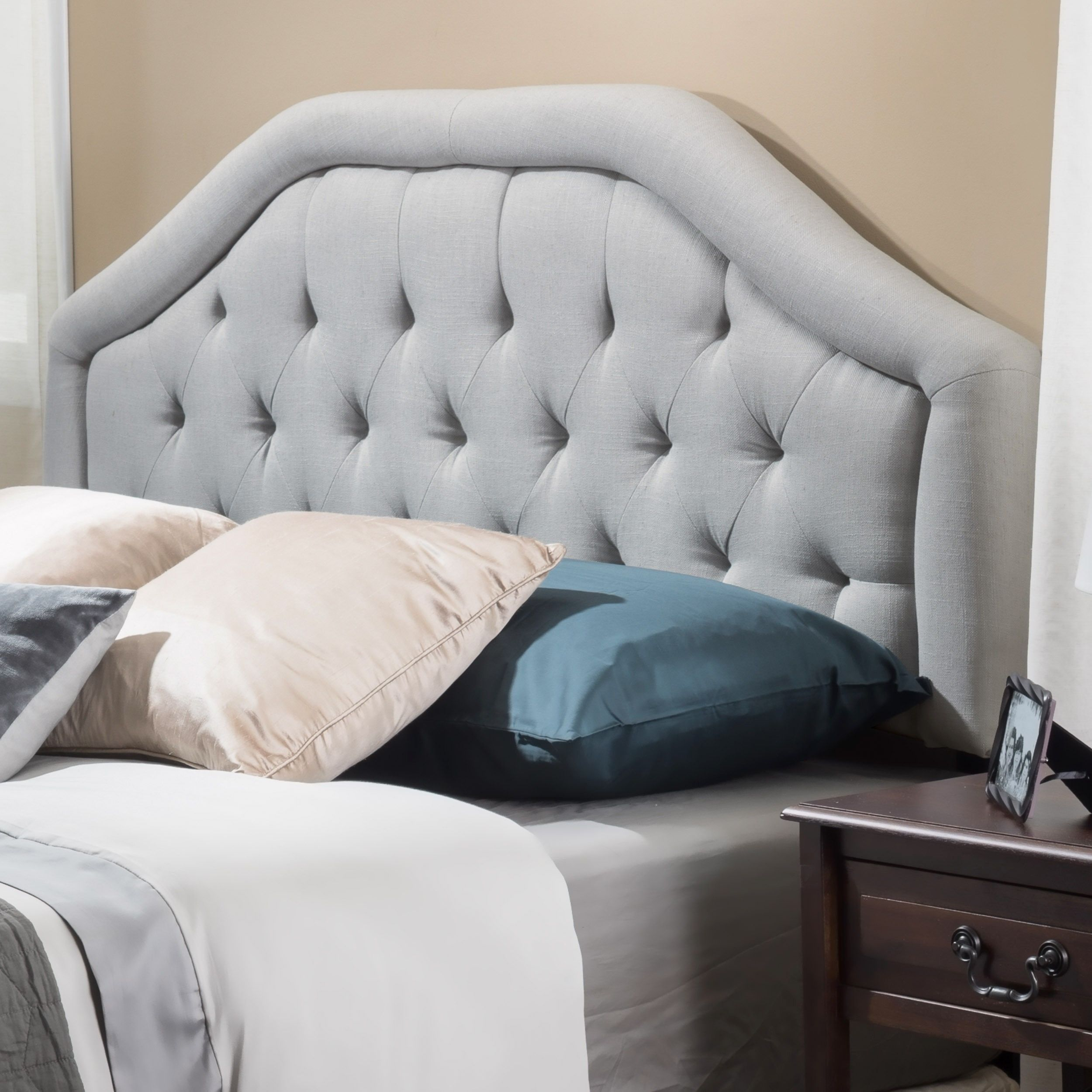 Headboards  Choose a headboard to match your personal style  whether     Angelica Adjustable Full  Queen Tufted Fabric Headboard by Christopher  Knight Home  Full Queen   Light Grey Fabric   Size Full   Queen