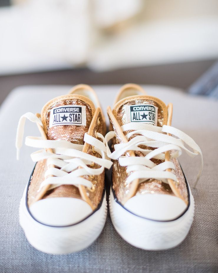 Gold Converse all star bridal shoes - Bride dancing shoes | sodazzling.com