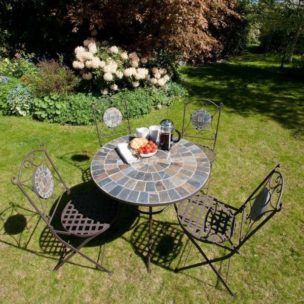 4 Seater Bistro Set Mosaic Outdoor Garden Patio Round ...
