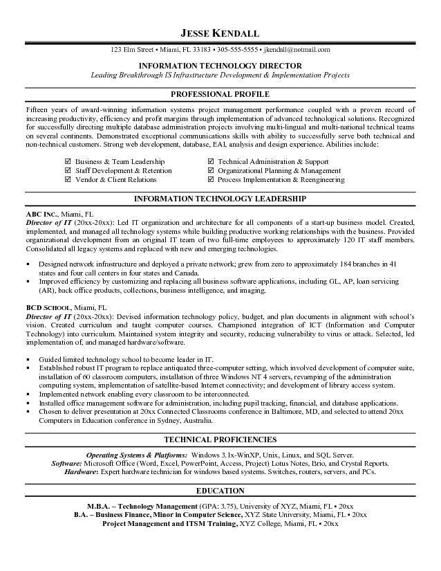 Director Of Information Technology Resume Resume Sample