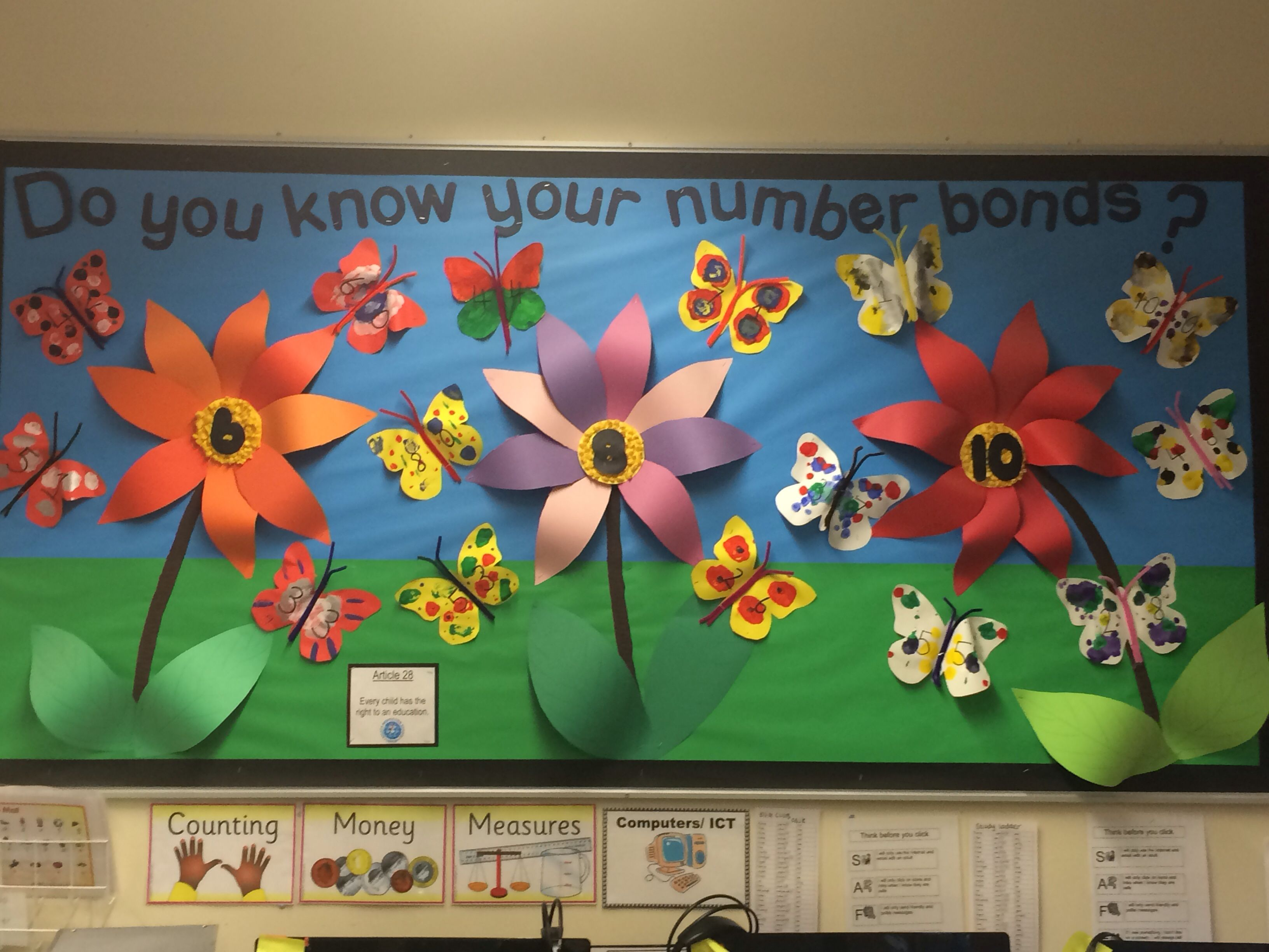 Number Bond Display With Symmetrical Butterflies