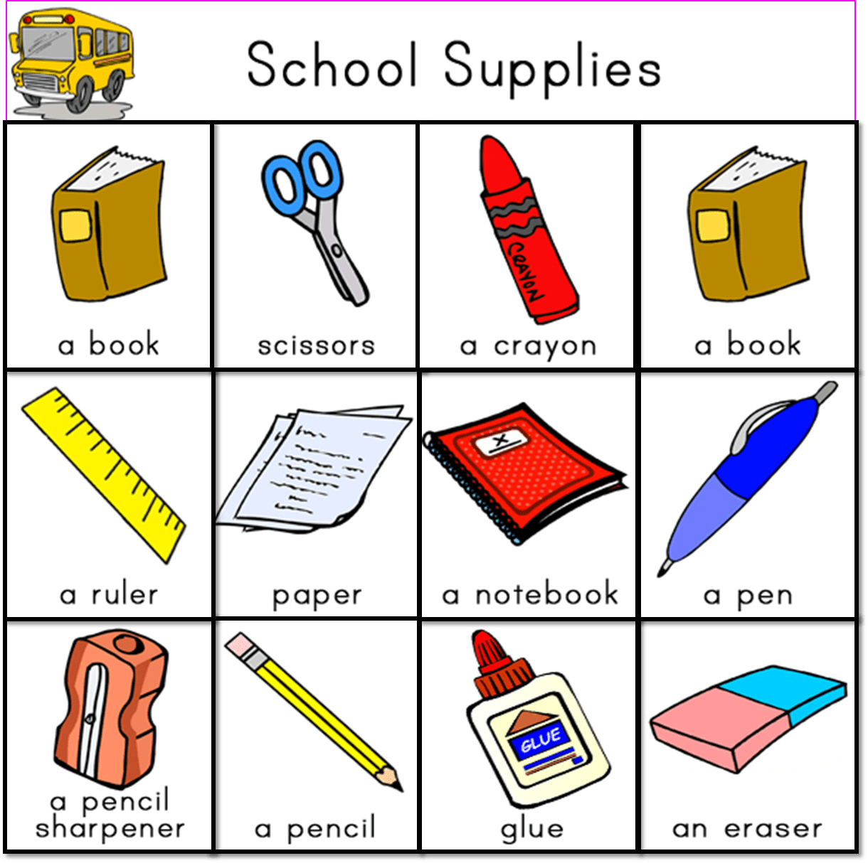 School Supplies Vocabulary Worksheet