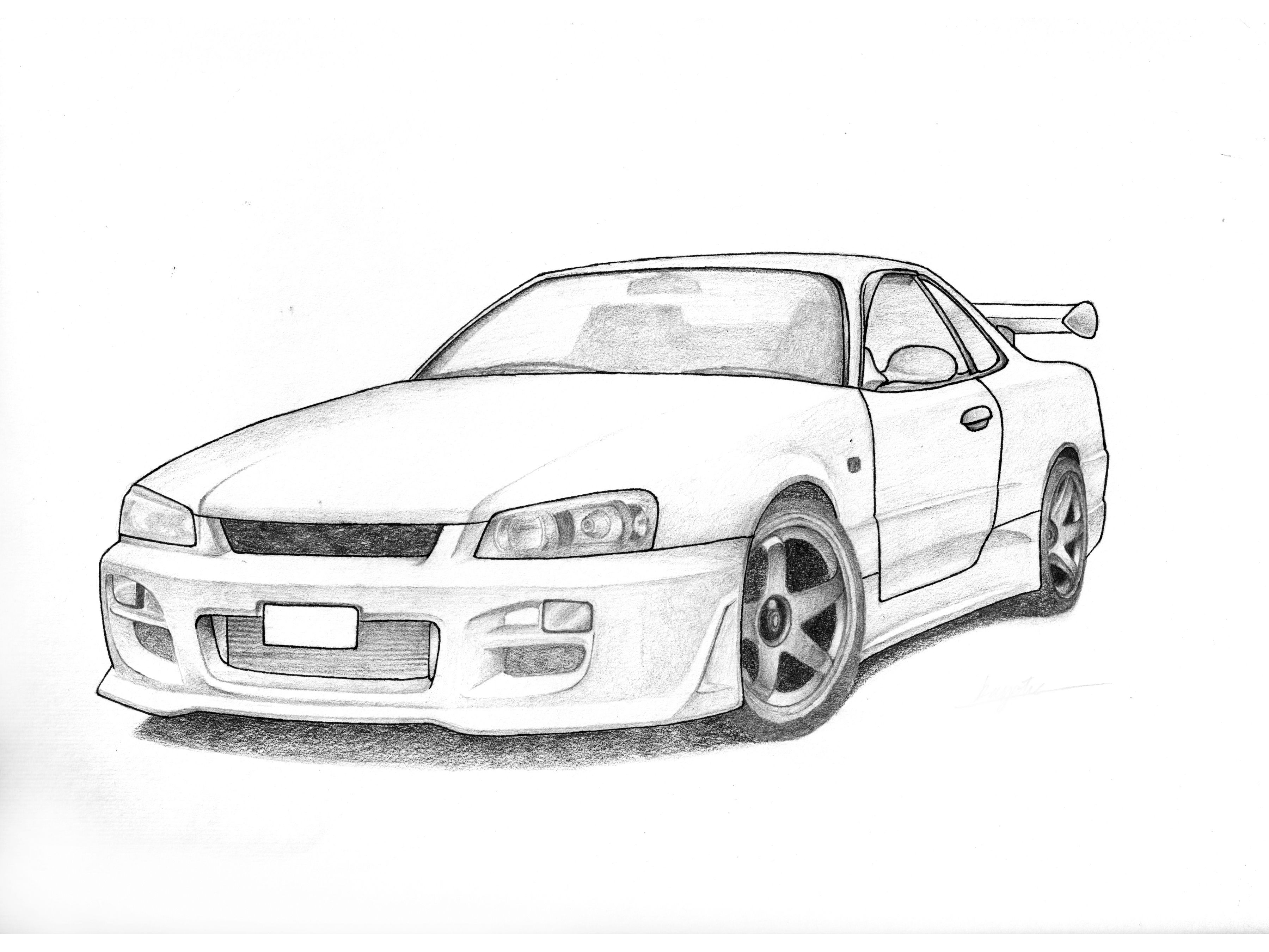 18 Jerry He Grade 12 Nissan R34 Skyline Pencil And