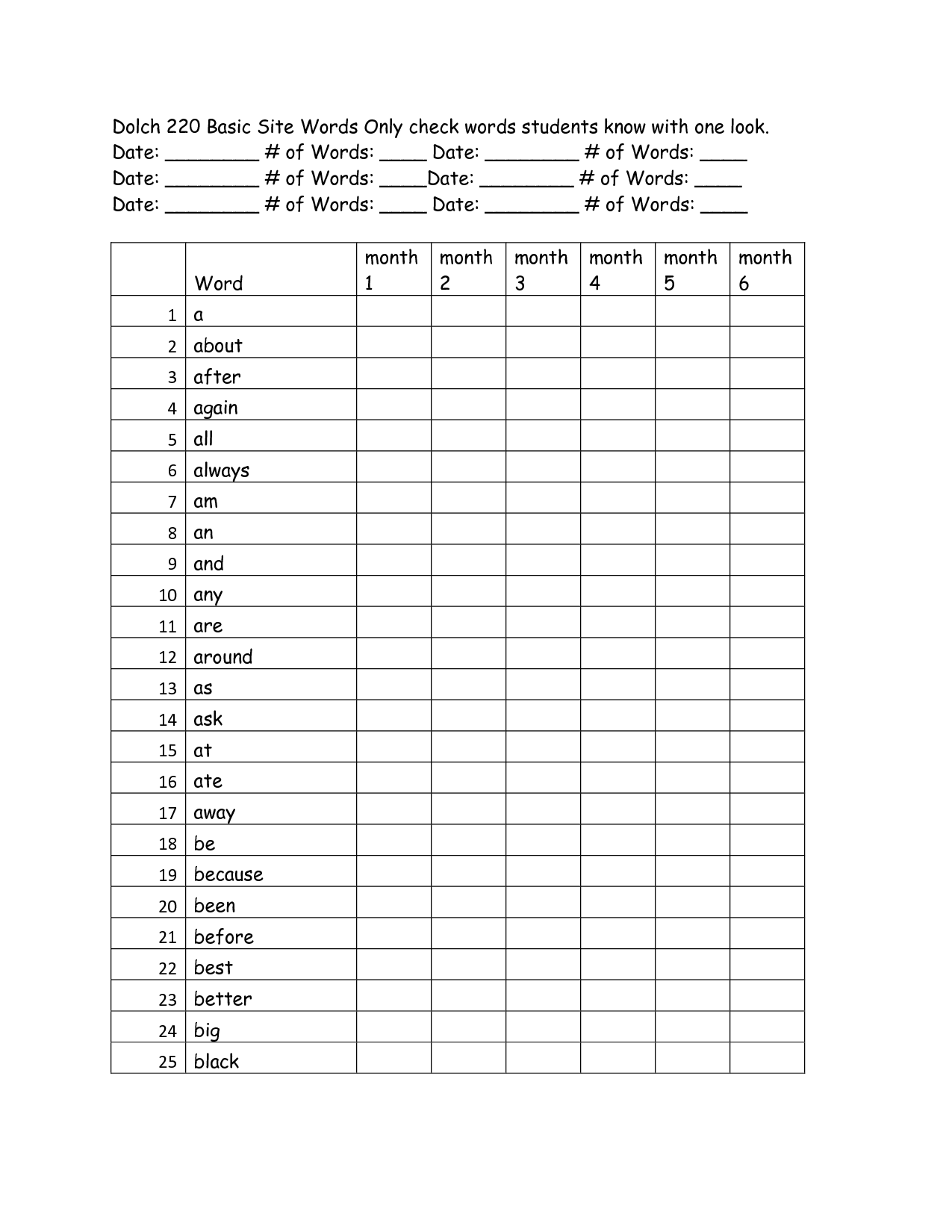 Sight Word Checklist