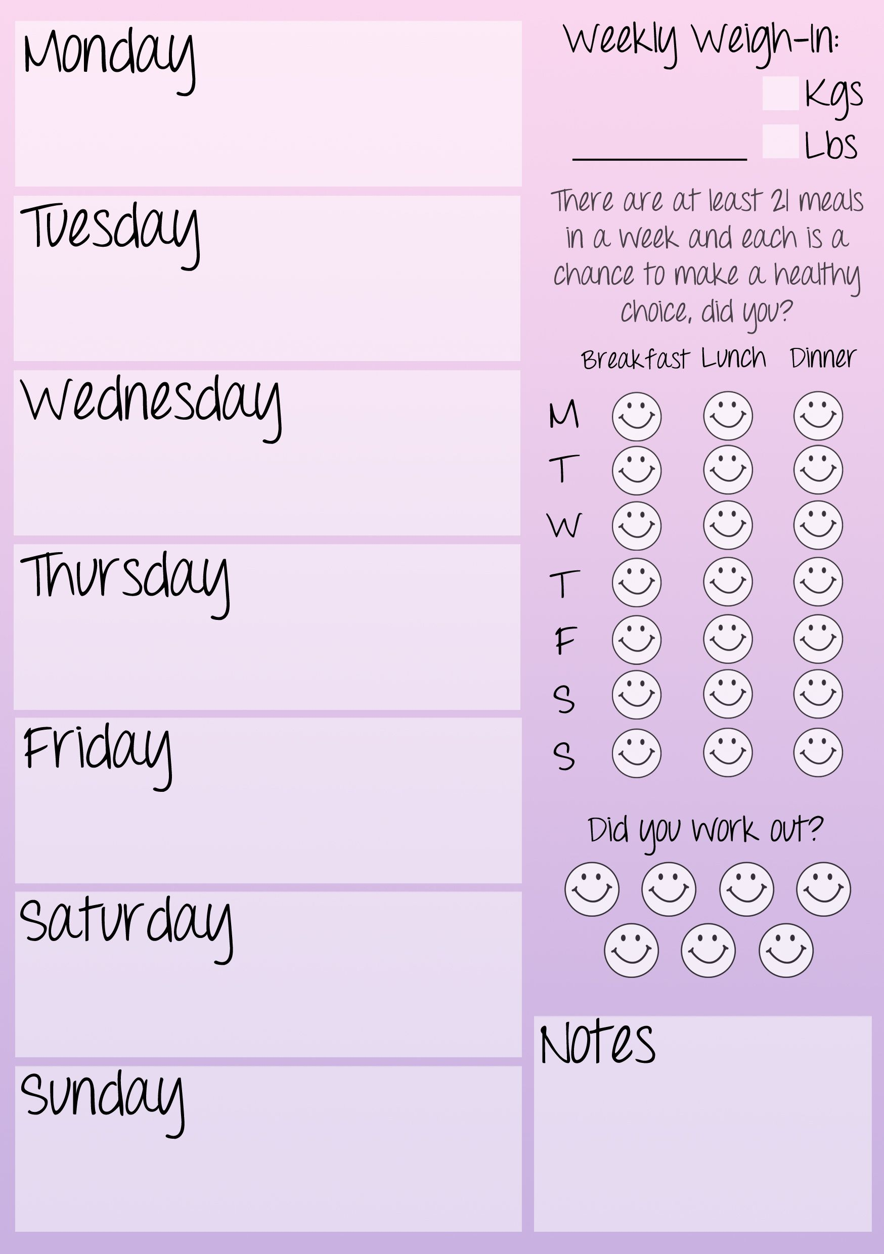 Weekly Fitness Journal Printable