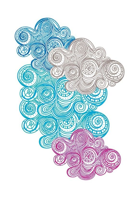 Colorful Clouds zentangle doodle style aqua teal turquoise ...