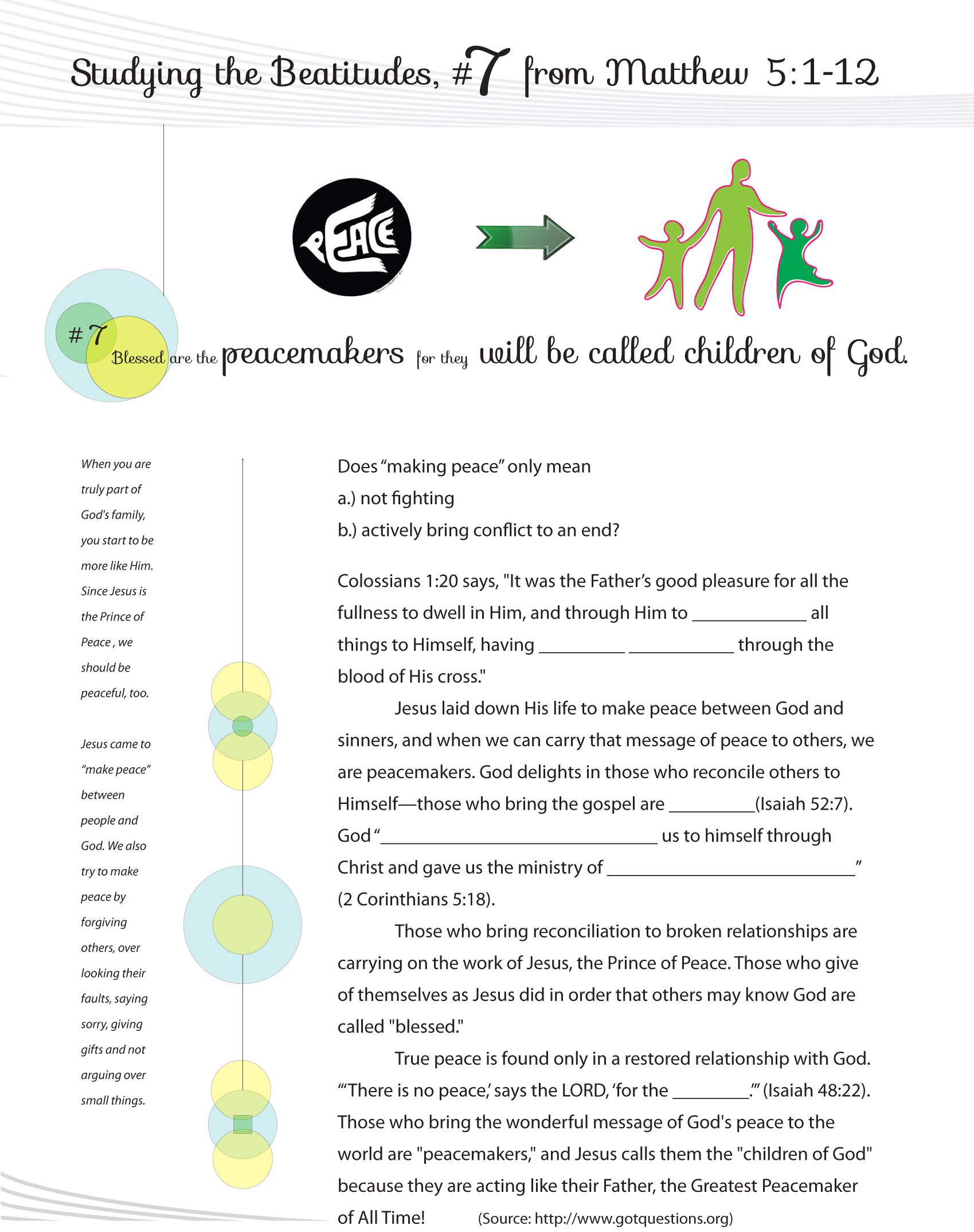 Worksheet To Teach The 7th Beatitude Of The Christian Life From Jesus Teaching His Famous Sermon