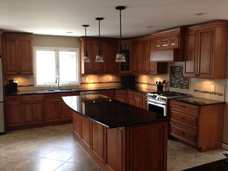 Cherry Cabinets, Maple Wood Doors, Black Granite Counters ... on Backsplash Ideas For Black Granite Countertops And Cherry Cabinets  id=14865